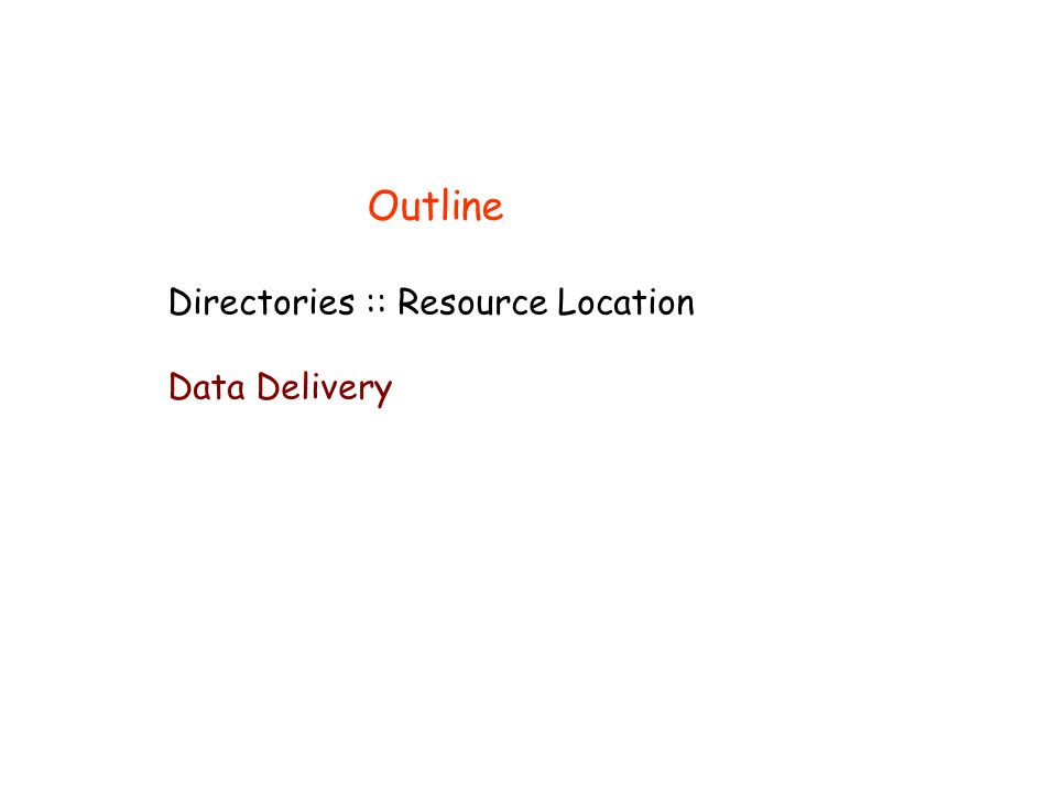 Directories :: Resource Location Data Delivery Outline