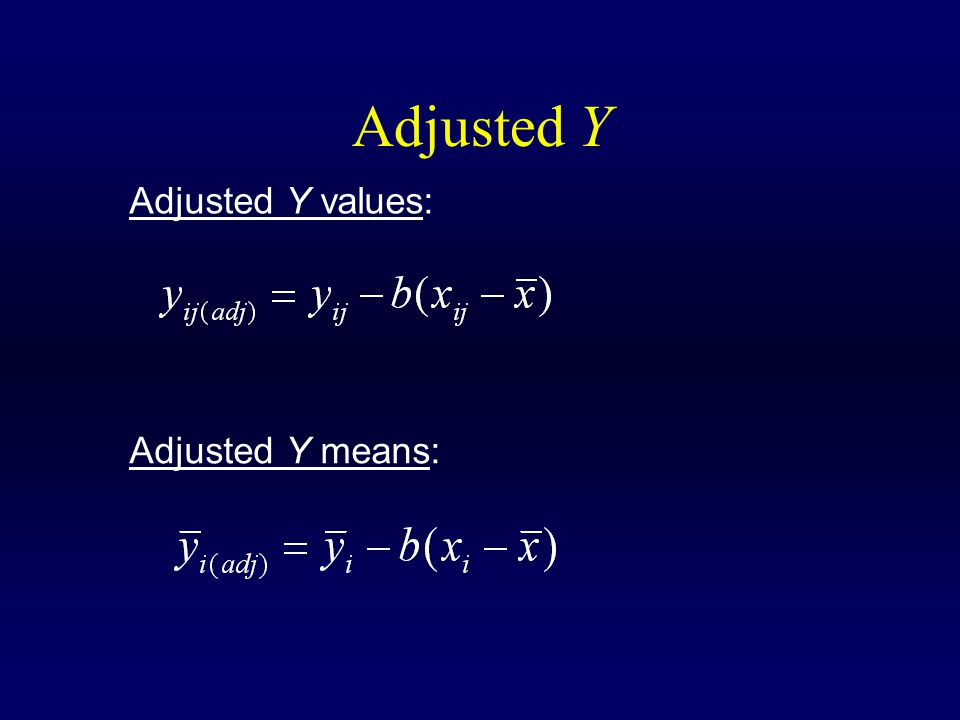 Adjusted Y Adjusted Y values: Adjusted Y means: