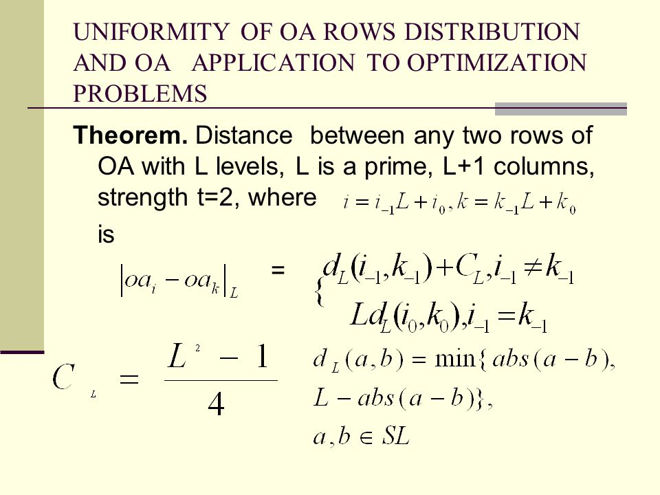 UNIFORMITY OF OA ROWS DISTRIBUTION AND OA APPLICATION TO OPTIMIZATION PROBLEMS Theorem.