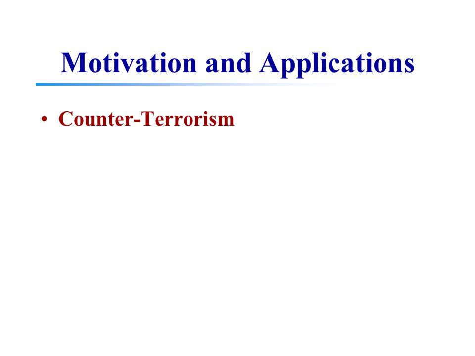 Motivation and Applications Counter-Terrorism