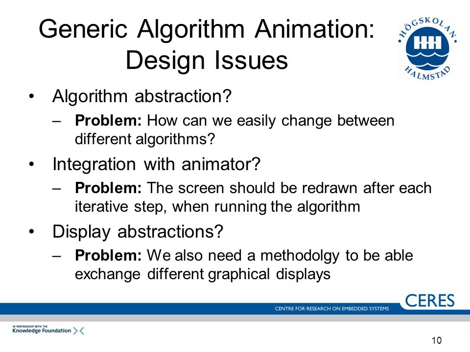 10 Generic Algorithm Animation: Design Issues Algorithm abstraction.