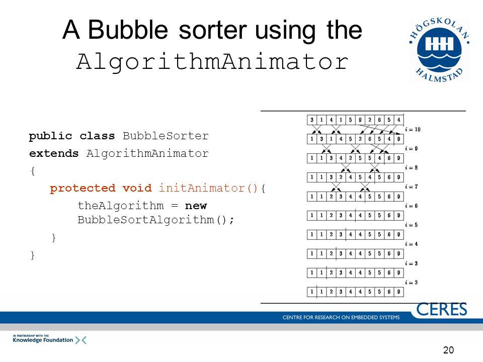 20 A Bubble sorter using the AlgorithmAnimator public class BubbleSorter extends AlgorithmAnimator { protected void initAnimator(){ theAlgorithm = new BubbleSortAlgorithm(); }