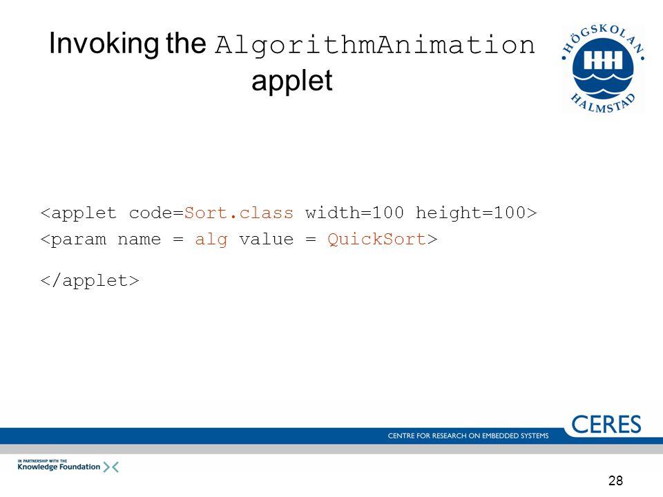 28 Invoking the AlgorithmAnimation applet