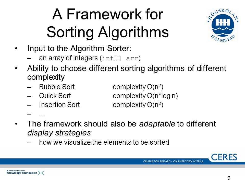 9 A Framework for Sorting Algorithms Input to the Algorithm Sorter: –an array of integers ( int[] arr ) Ability to choose different sorting algorithms of different complexity –Bubble Sortcomplexity Ο(n 2 ) –Quick Sortcomplexity O(n*log n) –Insertion Sortcomplexity O(n 2 ) –...