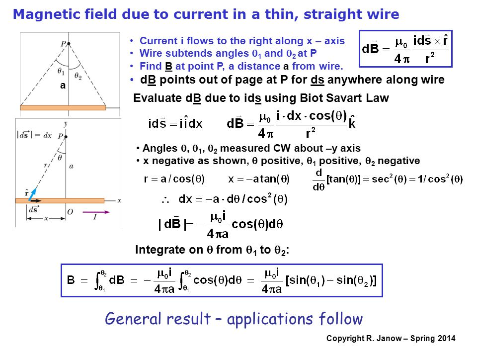 Copyright R. Janow – Spring 2014 Magnetic field due to current in a thin, straight wire a Current i flows to the right along x – axis Wire subtends an