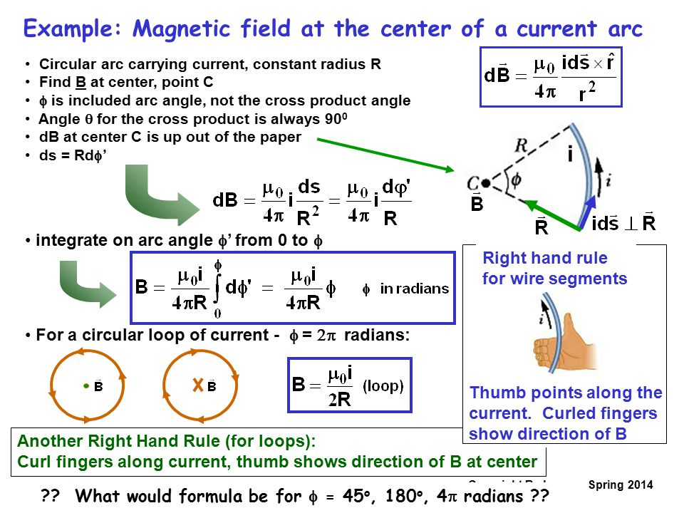 Copyright R. Janow – Spring 2014 Example: Magnetic field at the center of a current arc Circular arc carrying current, constant radius R Find B at cen