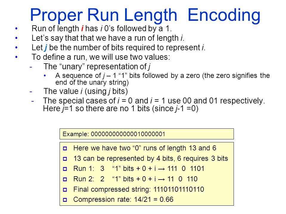 Proper Run Length Encoding Run of length i has i 0's followed by a 1.