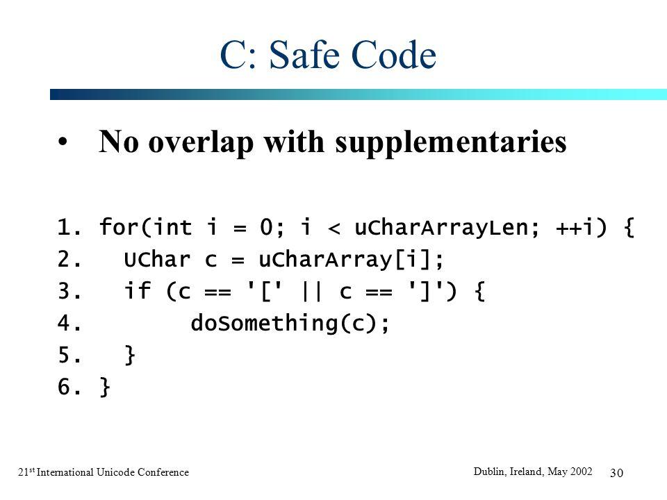 21 st International Unicode Conference Dublin, Ireland, May 2002 30 C: Safe Code No overlap with supplementaries 1.for(int i = 0; i < uCharArrayLen; ++i) { 2.UChar c = uCharArray[i]; 3.if (c == [ || c == ] ) { 4.doSomething(c); 5.} 6.}