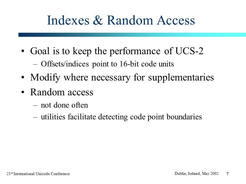 21 st International Unicode Conference Dublin, Ireland, May 2002 38 C/C++: Return Value Fixes (Contd.) Before 2.UChar func2() {} After a)UChar32 func2() {} b)UChar func2() {} UChar32 func2b() {} c)UChar func2() {} UnicodeString func2c {} d)UChar func2() {} void func2d(UnicodeString &fillIn) {}