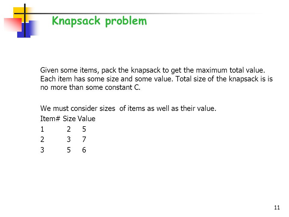 Given some items, pack the knapsack to get the maximum total value.