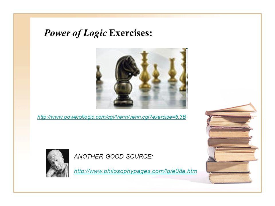 Power of Logic Exercises: http://www.poweroflogic.com/cgi/Venn/venn.cgi?exercise=6.3B ANOTHER GOOD SOURCE: http://www.philosophypages.com/lg/e08a.htm