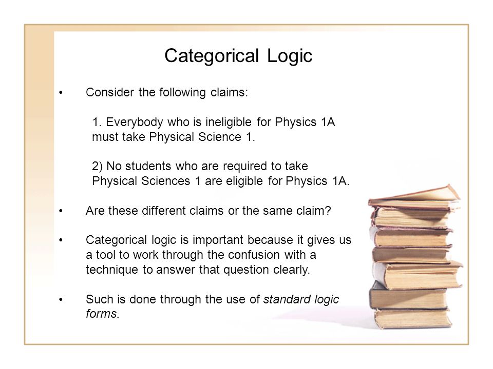 Categorical Logic Consider the following claims: 1. Everybody who is ineligible for Physics 1A must take Physical Science 1. 2) No students who are re