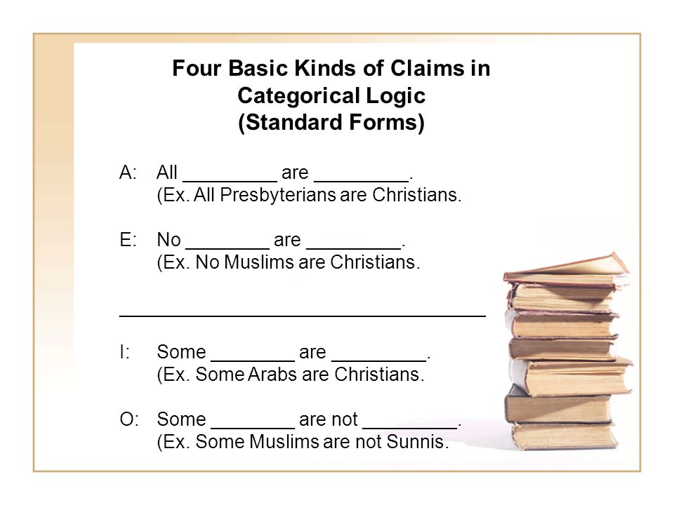 Four Basic Kinds of Claims in Categorical Logic (Standard Forms) A: All _________ are _________. (Ex. All Presbyterians are Christians. E: No ________