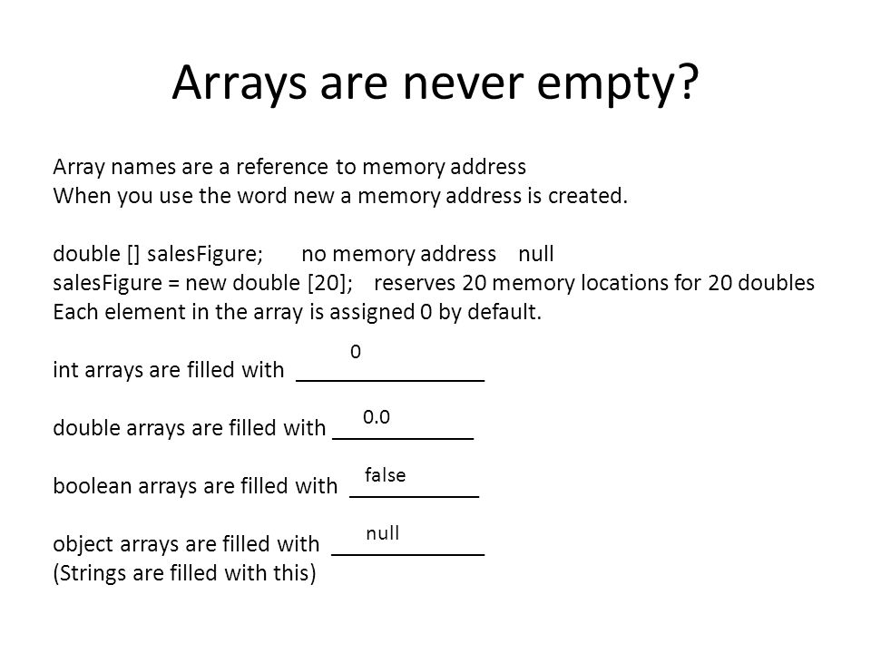 Arrays are never empty? Array names are a reference to memory address When you use the word new a memory address is created. double [] salesFigure; no