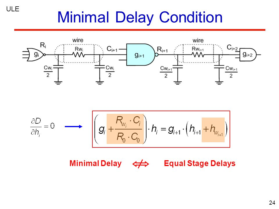 24 Minimal Delay Condition ULE Minimal Delay Equal Stage Delays
