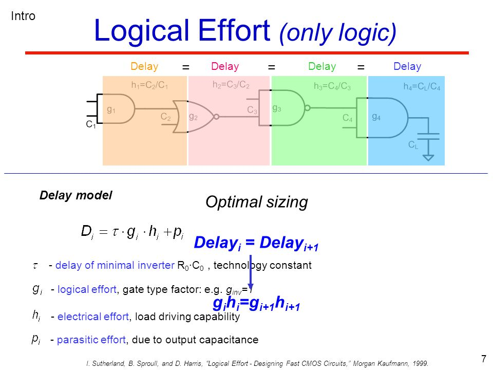 8 No wires Limitations of Logical Effort Delay = = = = = = LE breaks down Logic with wires and branches No fixed side branches Intro .