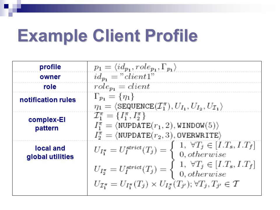 Example Client Profile profile owner role notification rules complex-EI pattern local and global utilities