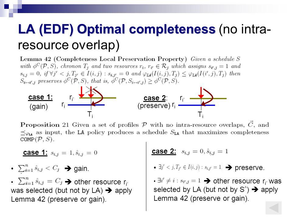 LA (EDF) Optimal completeness LA (EDF) Optimal completeness (no intra- resource overlap) r i' riri case 1: TjTj r i' riri case 2: TjTj (preserve)  gain.