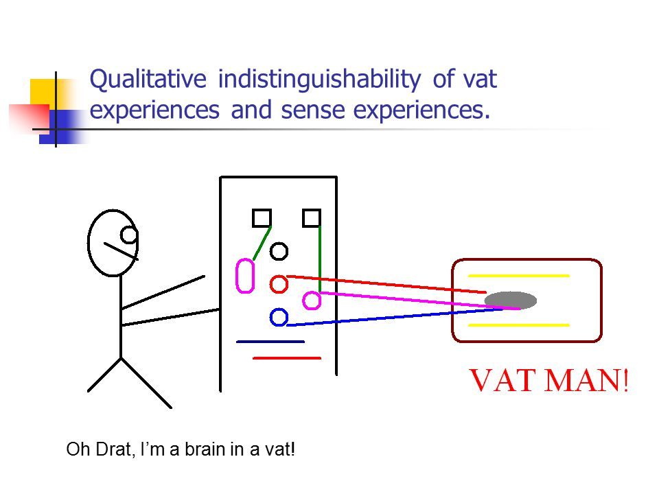 Qualitative indistinguishability of vat experiences and sense experiences. Oh Drat, I'm a brain in a vat!