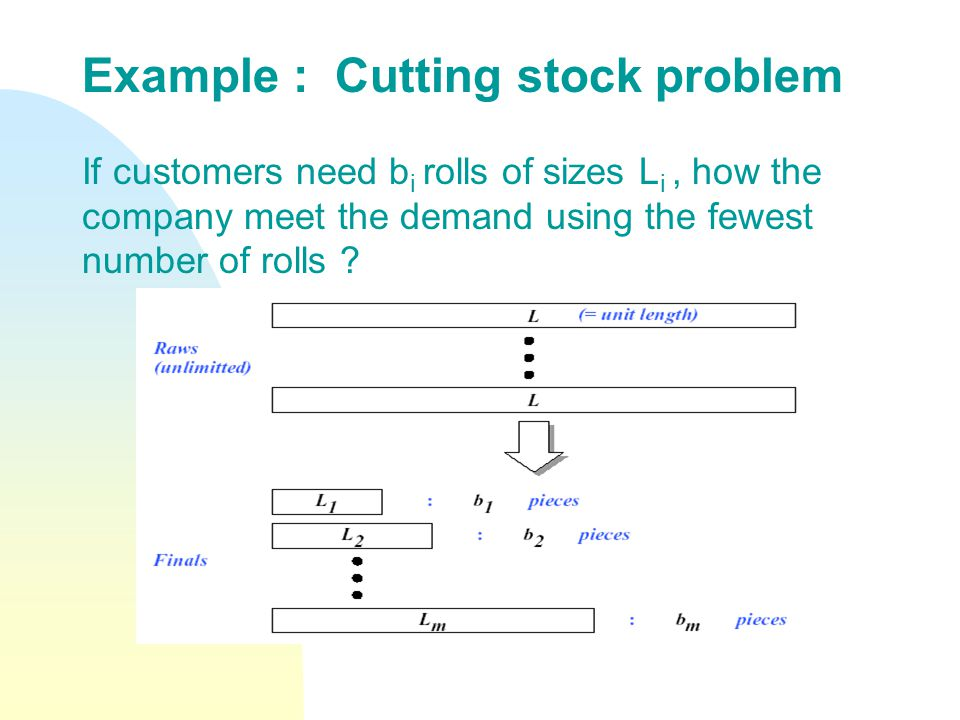 Example : Cutting stock problem If customers need b i rolls of sizes L i, how the company meet the demand using the fewest number of rolls