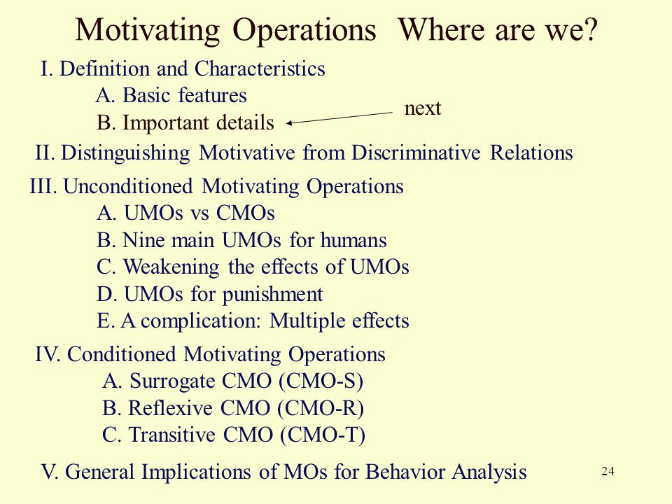 24 Motivating Operations Where are we? I. Definition and Characteristics A. Basic features B. Important details II. Distinguishing Motivative from Dis