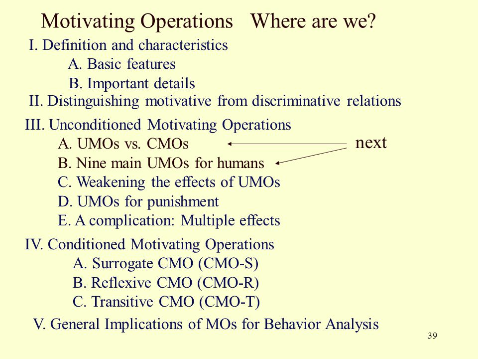 39 Motivating Operations Where are we? I. Definition and characteristics A. Basic features B. Important details II. Distinguishing motivative from dis