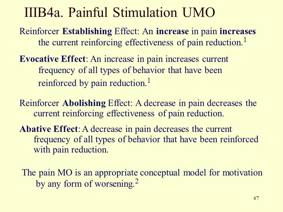 47 IIIB4a. Painful Stimulation UMO Reinforcer Establishing Effect: An increase in pain increases the current reinforcing effectiveness of pain reducti