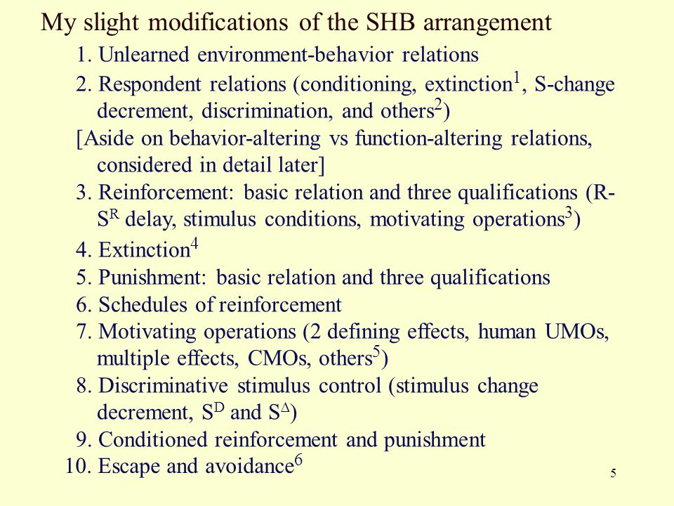 5 My slight modifications of the SHB arrangement 1. Unlearned environment-behavior relations 2. Respondent relations (conditioning, extinction 1, S-ch