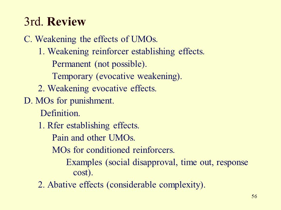 56 3rd.Review C. Weakening the effects of UMOs. 1.