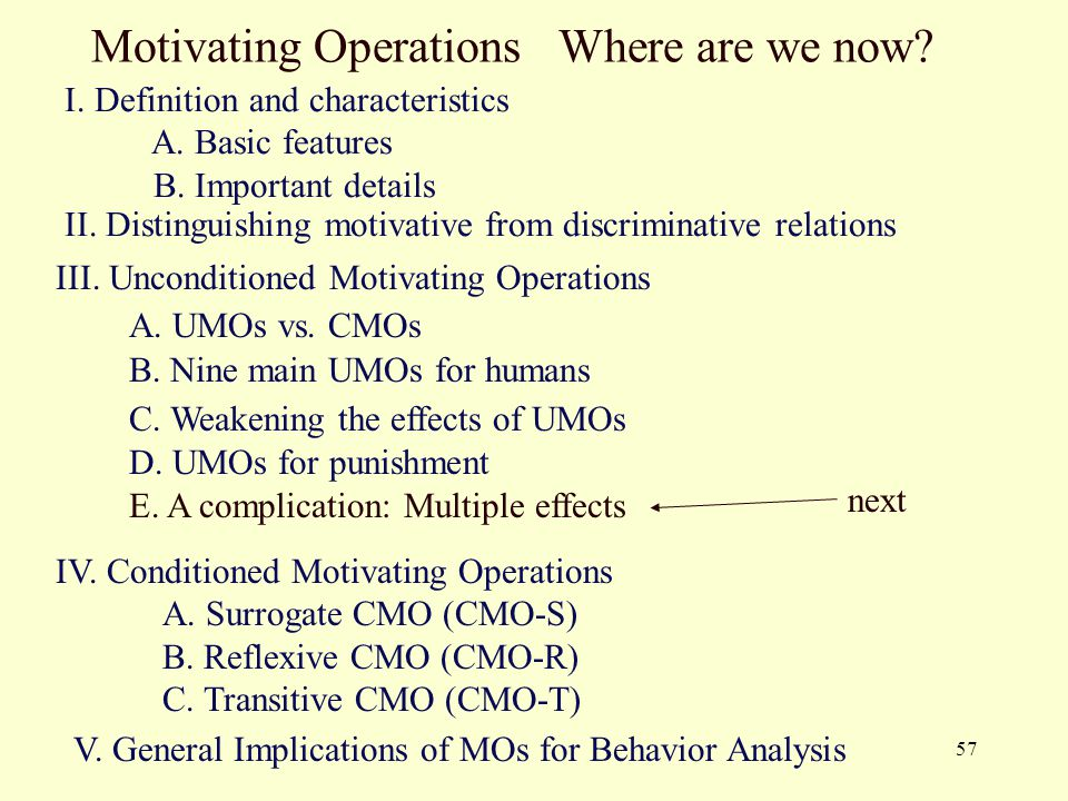 57 Motivating Operations Where are we now? I. Definition and characteristics A. Basic features B. Important details II. Distinguishing motivative from
