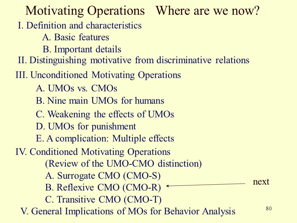80 Motivating Operations Where are we now? I. Definition and characteristics A. Basic features B. Important details II. Distinguishing motivative from