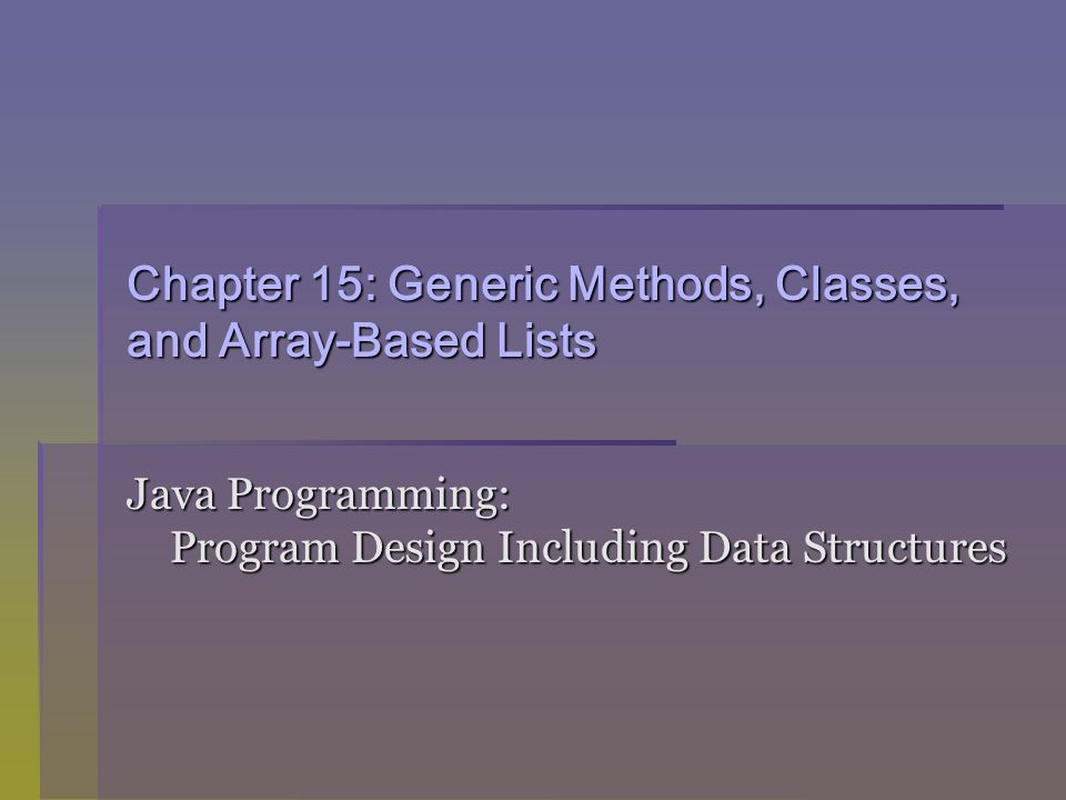 Java Programming: Program Design Including Data Structures12 The interface Comparable (continued)  Writing the compareTo method for Person public int compareTo(Object otherPerson) { Person temp = (Person) otherPerson; if (firstName.equals(temp.firstName) && lastName.equals(temp.lastName)) return 0; else if ((lastName.compareTo(temp.lastName) < 0) || ((lastName.equals(temp.lastName) && (firstName.compareTo(temp.firstName) < 0)))) return -1; else return 1; }