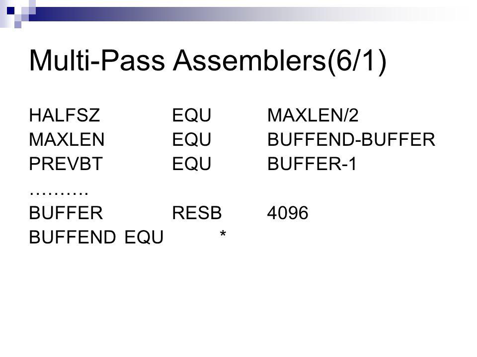 Multi-Pass Assemblers(6/1) HALFSZEQUMAXLEN/2 MAXLENEQUBUFFEND-BUFFER PREVBTEQUBUFFER-1 ……….