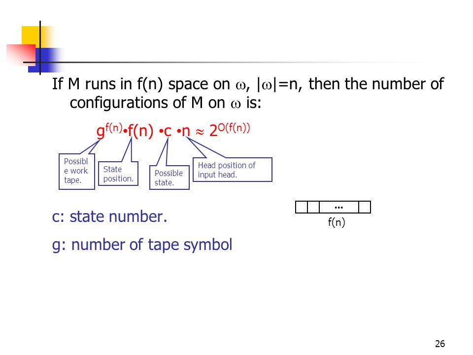 26 If M runs in f(n) space on , |  |=n, then the number of configurations of M on  is: g f(n) f(n) c n  2 O(f(n)) c: state number.