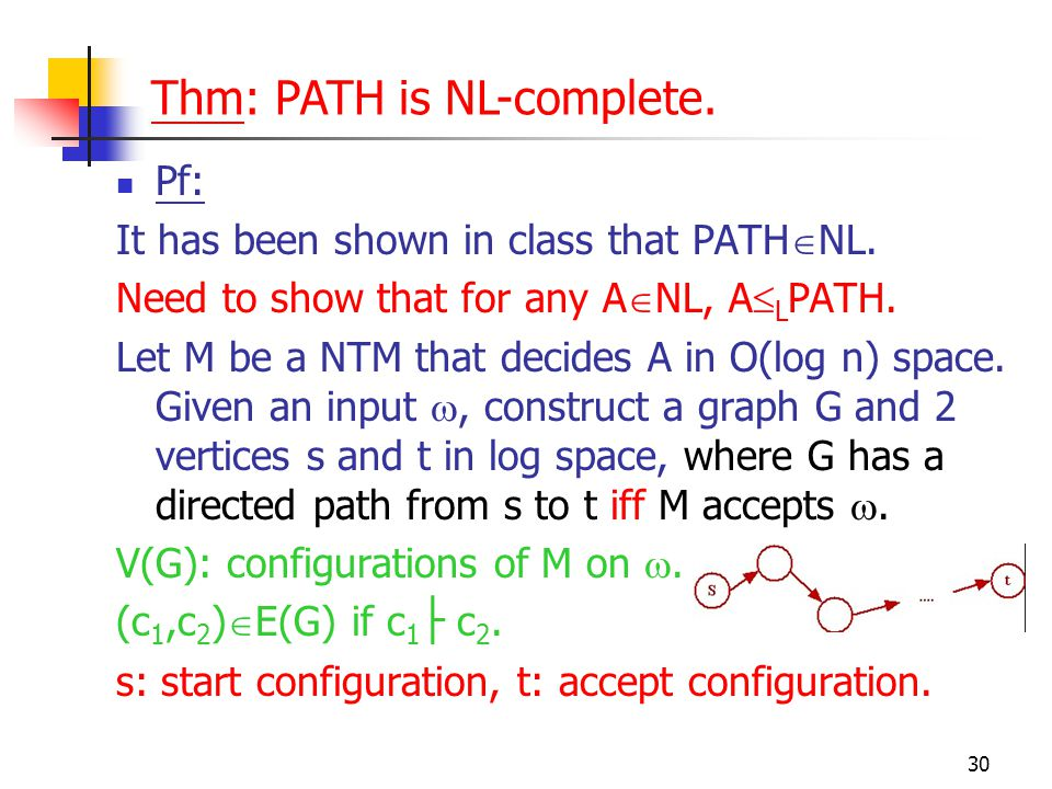 30 Pf: It has been shown in class that PATH  NL. Need to show that for any A  NL, A  L PATH.