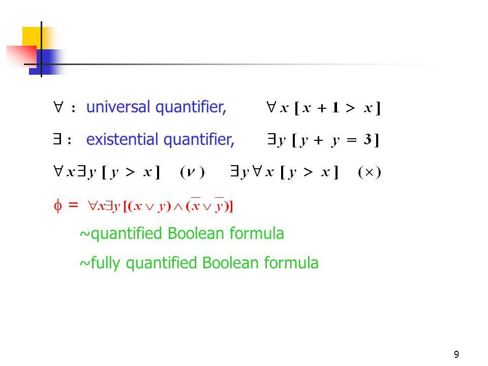 9 universal quantifier, existential quantifier,  = ~quantified Boolean formula ~fully quantified Boolean formula