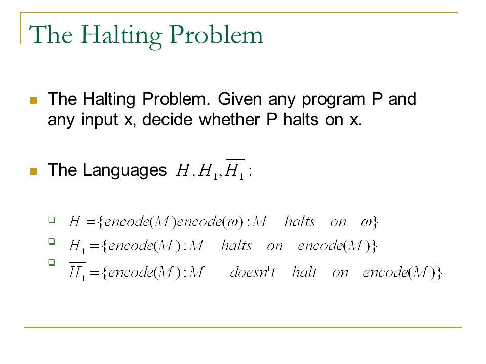 The Halting Problem The Halting Problem.