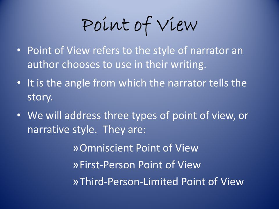 Omniscient Point of View An Omniscient narrator knows all and sees all that happens in a story and has access to the inner thoughts and feelings of all characters.