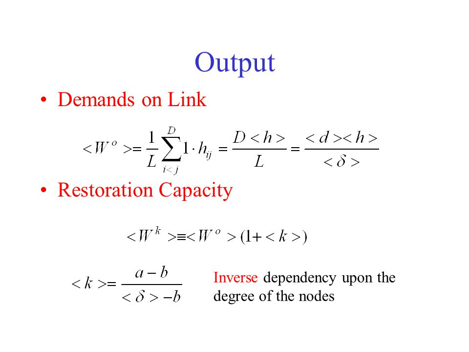 Output Demands on Link Restoration Capacity Inverse dependency upon the degree of the nodes