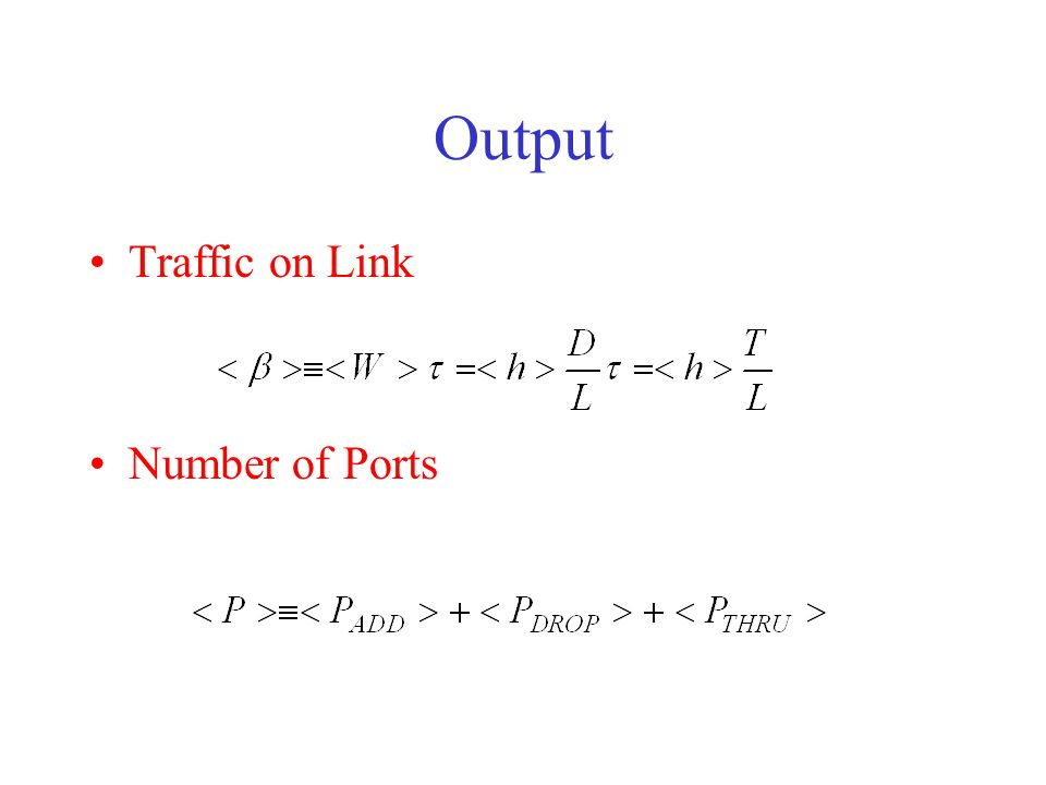 Output Traffic on Link Number of Ports