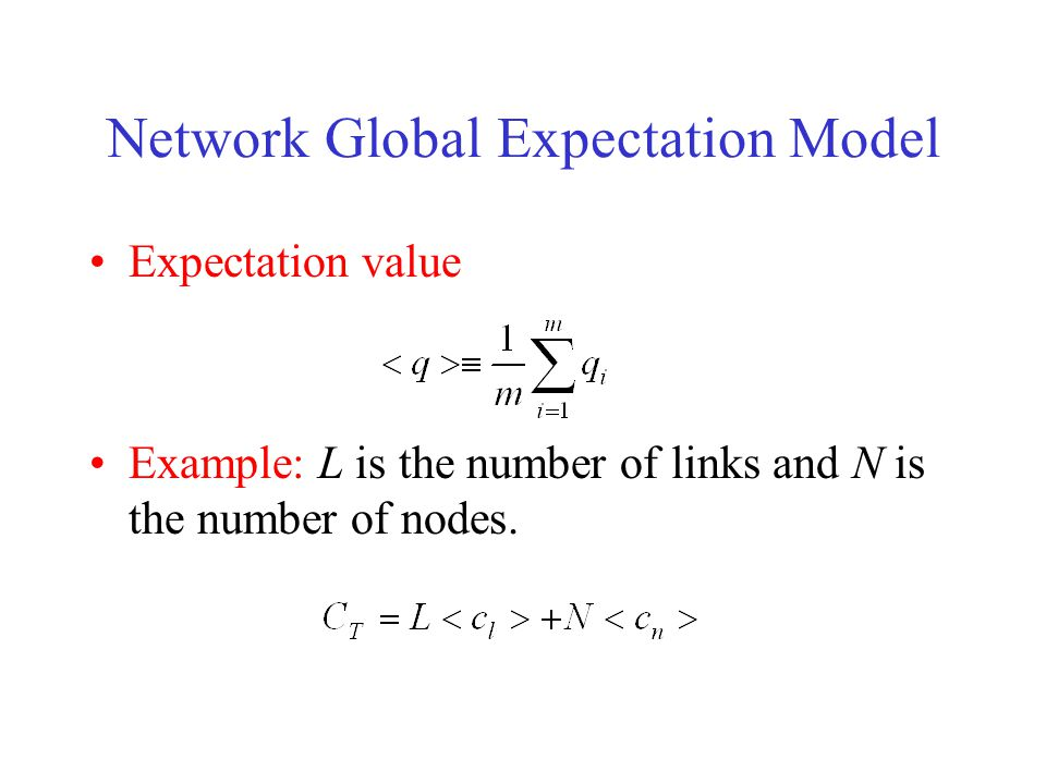 Network Global Expectation Model Expectation value Example: L is the number of links and N is the number of nodes.