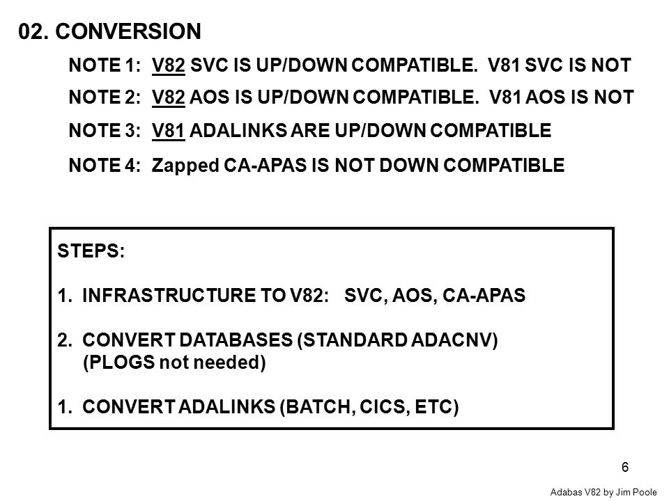 6 02. CONVERSION NOTE 1: V82 SVC IS UP/DOWN COMPATIBLE.