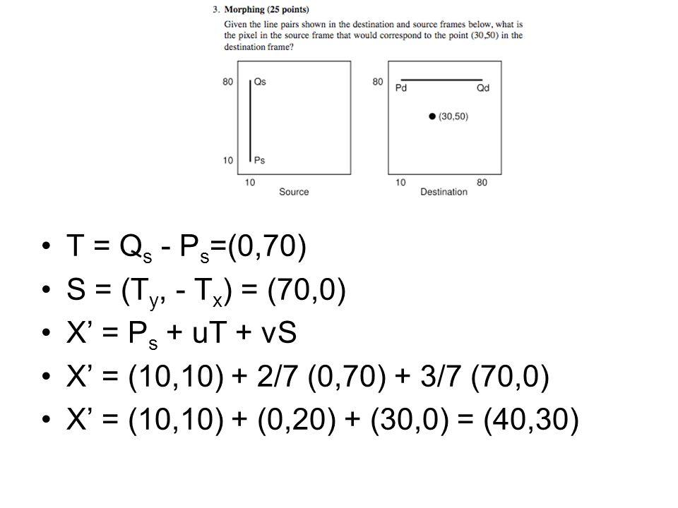 u = (X-P d ) (Q d -P d ) / |Q d -P d | 2 u = (20,-30)(70,0) / 70 2 u = 1400/4900 = 2/7 v = | (X-P d ) x (Q d -P d ) / |Q d -P d | 2 | v =|(20,-30) x (70,0) / 70 2 | note: 2D cross product = determinant v = 2100/4900 = 3/7