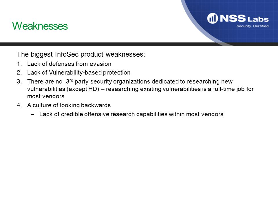 Weaknesses The biggest InfoSec product weaknesses: 1.Lack of defenses from evasion 2.Lack of Vulnerability-based protection 3.There are no 3 rd party security organizations dedicated to researching new vulnerabilities (except HD) – researching existing vulnerabilities is a full-time job for most vendors 4.A culture of looking backwards –Lack of credible offensive research capabilities within most vendors