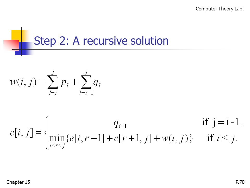 Computer Theory Lab. Chapter 15P.70 Step 2: A recursive solution