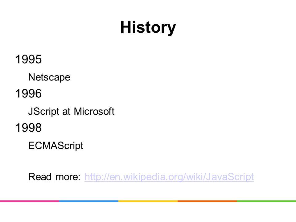 History 1995 Netscape 1996 JScript at Microsoft 1998 ECMAScript Read more: http://en.wikipedia.org/wiki/JavaScripthttp://en.wikipedia.org/wiki/JavaScript