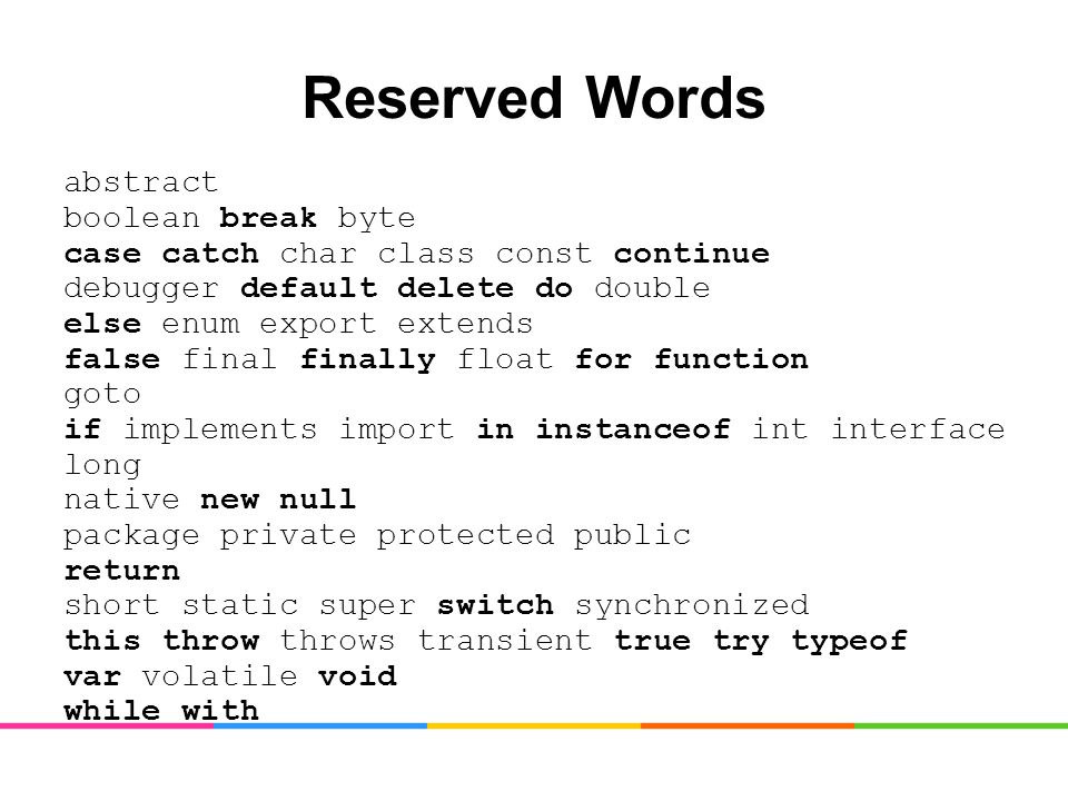 Reserved Words abstract boolean break byte case catch char class const continue debugger default delete do double else enum export extends false final finally float for function goto if implements import in instanceof int interface long native new null package private protected public return short static super switch synchronized this throw throws transient true try typeof var volatile void while with
