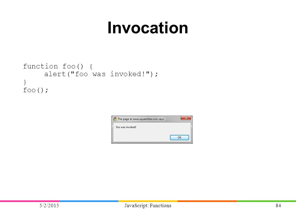 5/2/2015JavaScript: Functions84 Invocation function foo() { alert(