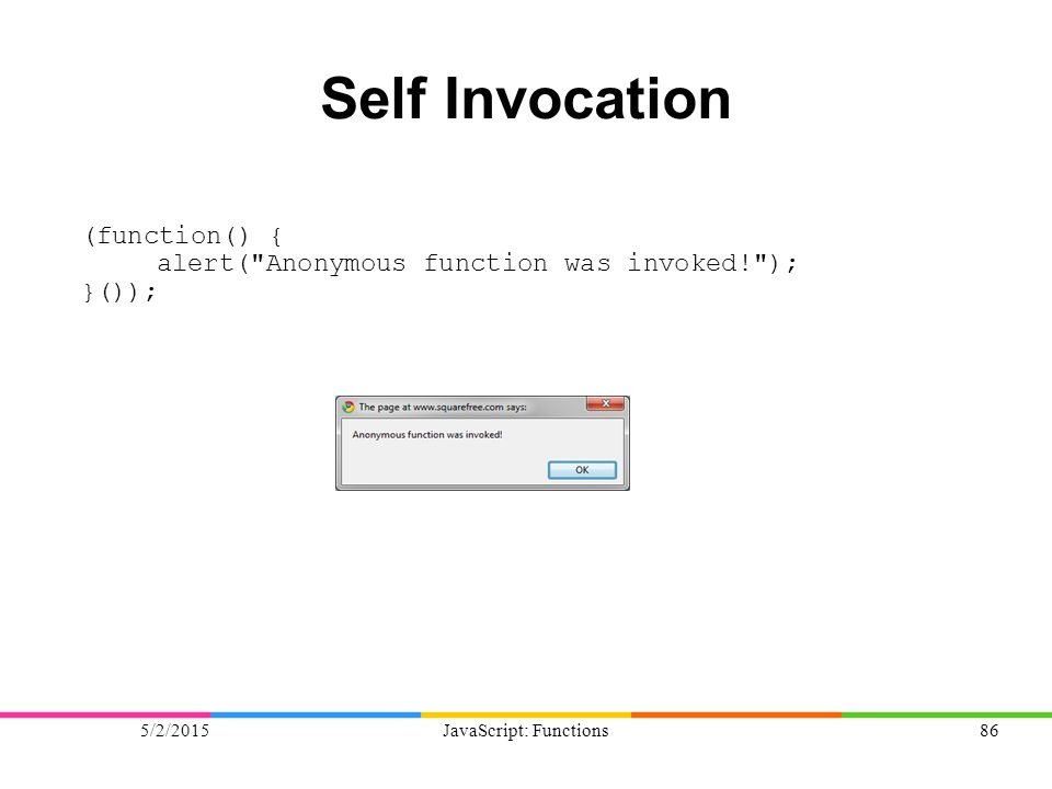 5/2/2015JavaScript: Functions86 Self Invocation (function() { alert( Anonymous function was invoked! ); }());