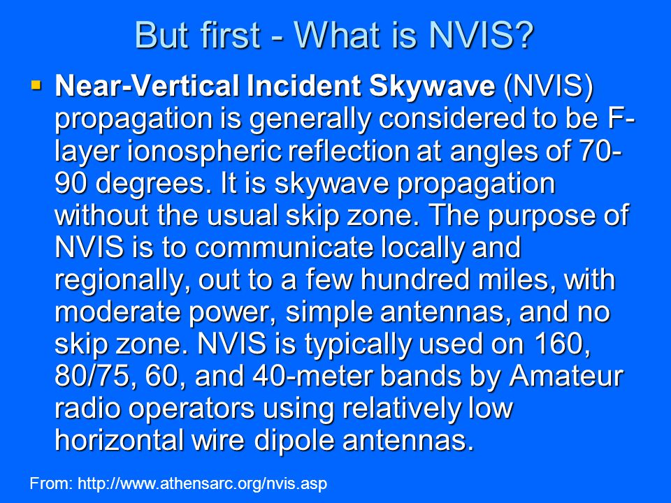 NVIS or .75-meter NVIS antenna at 20 feet high. The -10db ray is at about 38 degrees.